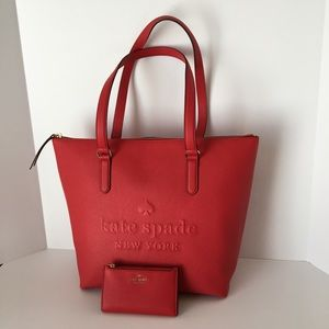 Kate Spade Larchmont Penny Hot Chili Tote & Wallet